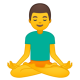 Man in Lotus Position on Google Android 8.0