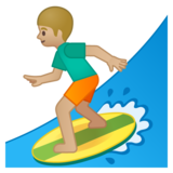 Man Surfing: Medium-Light Skin Tone on Google Android 8.0