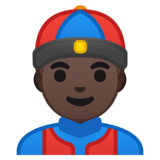Person With Skullcap: Dark Skin Tone on Google Android 8.0