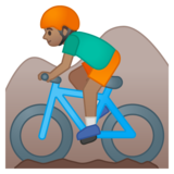 Person Mountain Biking: Medium Skin Tone on Google Android 8.0