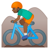Person Mountain Biking: Medium-Dark Skin Tone on Google Android 8.0