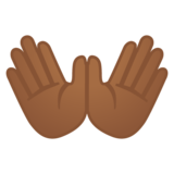 Open Hands: Medium-Dark Skin Tone on Google Android 8.0