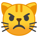 Pouting Cat Face on Google Android 8.0