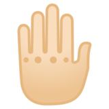 Raised Back of Hand: Light Skin Tone on Google Android 8.0