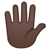 Hand with Fingers Splayed: Dark Skin Tone on Google Android 8.0