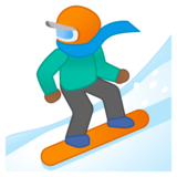 Snowboarder: Medium-Dark Skin Tone on Google Android 8.0