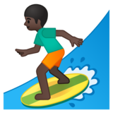 Person Surfing: Dark Skin Tone on Google Android 8.0