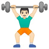 Person Lifting Weights: Light Skin Tone on Google Android 8.0