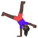 Woman Cartwheeling: Dark Skin Tone on Google Android 8.0