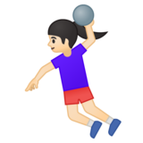 Woman Playing Handball: Light Skin Tone on Google Android 8.0