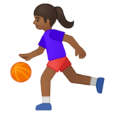 Woman Bouncing Ball: Medium-Dark Skin Tone on Google Android 8.0