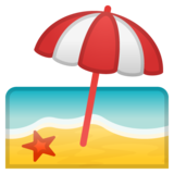 Beach With Umbrella on Google Android 8.1