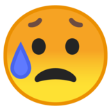 Sad but Relieved Face on Google Android 8.1