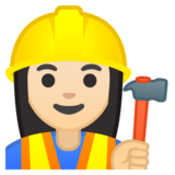 Woman Construction Worker: Light Skin Tone on Google Android 8.1