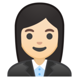 Woman Office Worker: Light Skin Tone on Google Android 8.1