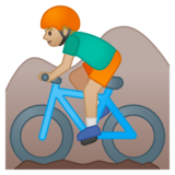 Man Mountain Biking: Medium-Light Skin Tone on Google Android 8.1