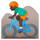Person Mountain Biking: Dark Skin Tone on Google Android 8.1