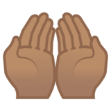 Palms Up Together: Medium Skin Tone on Google Android 8.1