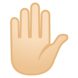 Raised Hand: Light Skin Tone on Google Android 8.1
