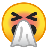 Sneezing Face on Google Android 8.1