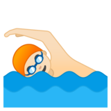 Person Swimming: Light Skin Tone on Google Android 8.1