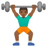 Person Lifting Weights: Medium-Dark Skin Tone on Google Android 8.1