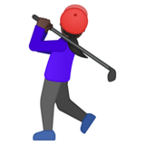 Woman Golfing: Dark Skin Tone on Google Android 8.1