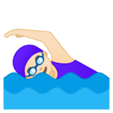 Woman Swimming: Light Skin Tone on Google Android 8.1