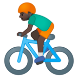 Person Biking: Dark Skin Tone on Google Android 9.0
