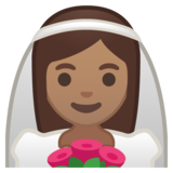 Person With Veil: Medium Skin Tone on Google Android 9.0