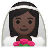 Bride With Veil: Dark Skin Tone on Google Android 9.0