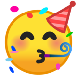 Partying Face on Google Android 9.0