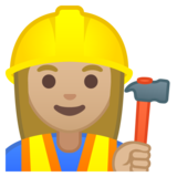 Woman Construction Worker: Medium-Light Skin Tone on Google Android 9.0
