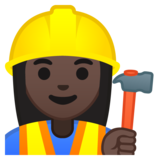 Woman Construction Worker: Dark Skin Tone on Google Android 9.0