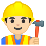 Man Construction Worker: Light Skin Tone on Google Android 9.0