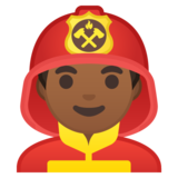 Man Firefighter: Medium-Dark Skin Tone on Google Android 9.0