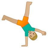 Man Cartwheeling: Medium-Light Skin Tone on Google Android 9.0