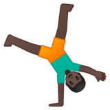 Man Cartwheeling: Dark Skin Tone on Google Android 9.0