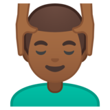 Man Getting Massage: Medium-Dark Skin Tone on Google Android 9.0