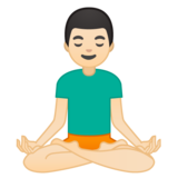 Man in Lotus Position: Light Skin Tone on Google Android 9.0