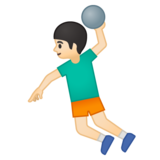 Man Playing Handball: Light Skin Tone on Google Android 9.0