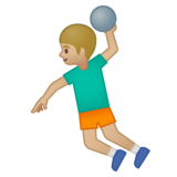 Man Playing Handball: Medium-Light Skin Tone on Google Android 9.0