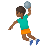 Man Playing Handball: Medium-Dark Skin Tone on Google Android 9.0