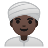 Man Wearing Turban: Dark Skin Tone on Google Android 9.0