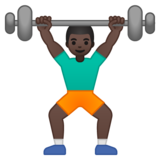 Man Lifting Weights: Dark Skin Tone on Google Android 9.0