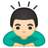Person Bowing: Light Skin Tone on Google Android 9.0