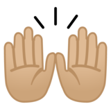 Raising Hands: Medium-Light Skin Tone on Google Android 9.0
