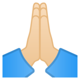 Folded Hands: Light Skin Tone on Google Android 9.0