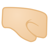 Right-Facing Fist: Light Skin Tone on Google Android 9.0