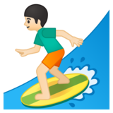 Person Surfing: Light Skin Tone on Google Android 9.0